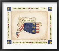 Framed Patriotic Bunny Angel With Heart