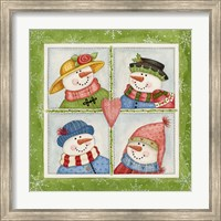 Framed Four Snowmen