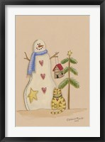 Framed Snowman With Cat