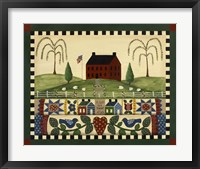 Framed Red House With Quilts