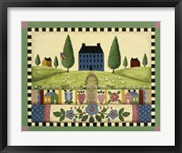 Framed Blue House With Quilts