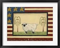Sheep With Flag Border Framed Print