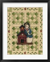 Framed Snowwoman Teacher With Schoolhouse