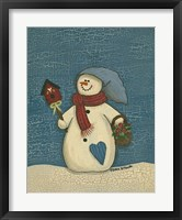 Snowman With Crackle Background Framed Print