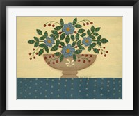 Lt. Blue Flowers With Dark Blue Talecloth Framed Print