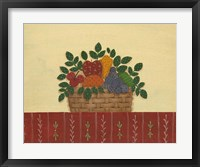 Fruit With Red Tablecloth Framed Print