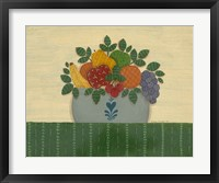 Fruit With Dark Green Tablecloth Framed Print