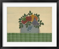 Fruit With Green Tablecloth Framed Print