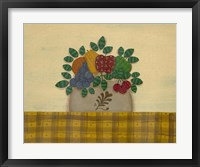 Fruit With Gold & Brown Tablecloth Framed Print