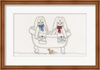 Framed Bath Time Bunnies