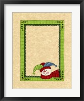 Framed Bright Snowman With Green Border