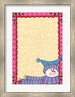 Framed Bright Snowman W/Pink Border