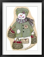 Framed I Love Baskets Snowwoman