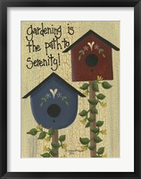 Gardening Is The Path Framed Print