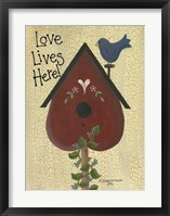 Love Lives Here! Framed Print