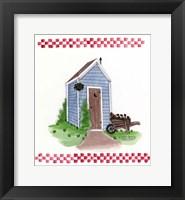 Framed Outhouse With Wheelbarrow