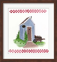 Framed Outhouse With Wheelbarrow