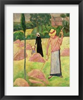 Framed Woman with Rake