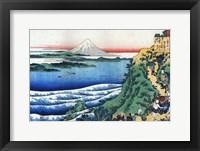 Framed Snow on Mount Fuji, Porters Climb Uphill.