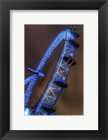 Framed London Eye Lit up in Blue