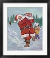 Framed Snow Golfing Santa