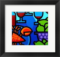Framed Lobster Wine And Limes