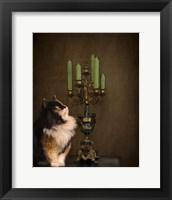 Framed Cat And The Candelabra