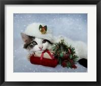 Framed Christmas Kitten In The Snow