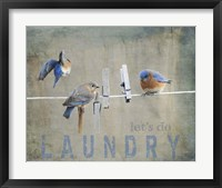 Framed Laundry Day Bluebirds