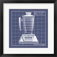 Galaxy Blender - Blueprint Framed Print