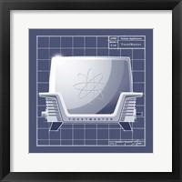 Galaxy Toaster - Blueprint Framed Print