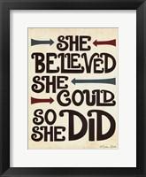 She Believed Framed Print