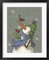 Snowman with Birds Framed Print