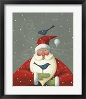 Framed Santa with Bluebirds