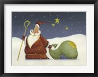 Framed Santa and his staff
