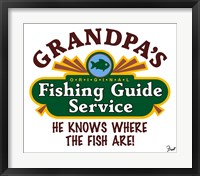 Framed Grandpa's Fishing Guide Service
