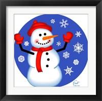 Framed Red Cap Snowman