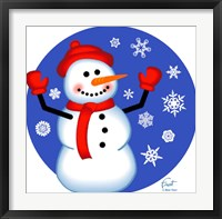 Red Cap Snowman Framed Print