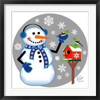 Snowman Birdhouse Framed Print