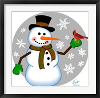 Framed Snowman Cardinal