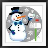 Snowman Mailbox Framed Print