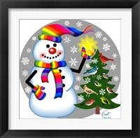 Framed Snowman Bird Tree