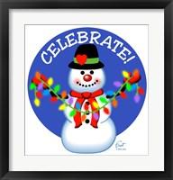 Framed Snowman Christmas Lights