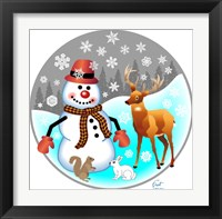 Framed Snowman Forest Animals