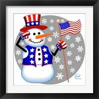 Framed Snowman Patriotic