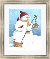 Framed Snowman Red Hat