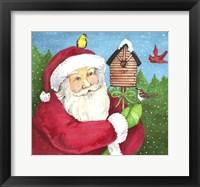 Framed Santa Log Birdhouse