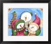 Framed Snowman With Bluebird