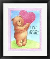Framed Bear Live With Heart