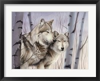 Framed Two Wolves In The Birches